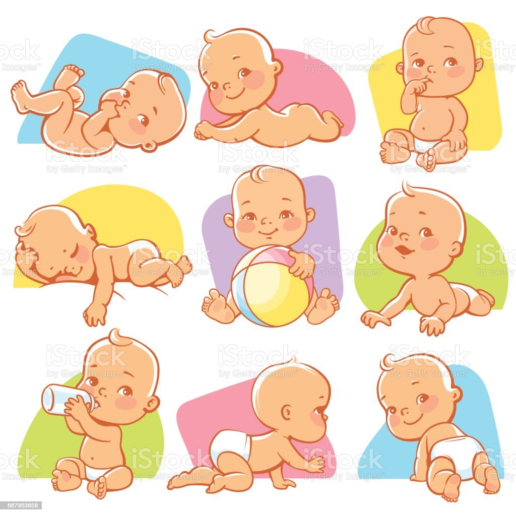 Little baby set vector art illustration