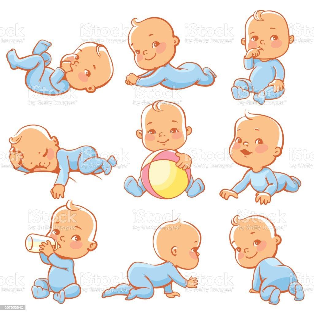 Little baby set vector art illustration