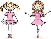 Two little stick figure ballerina girls.