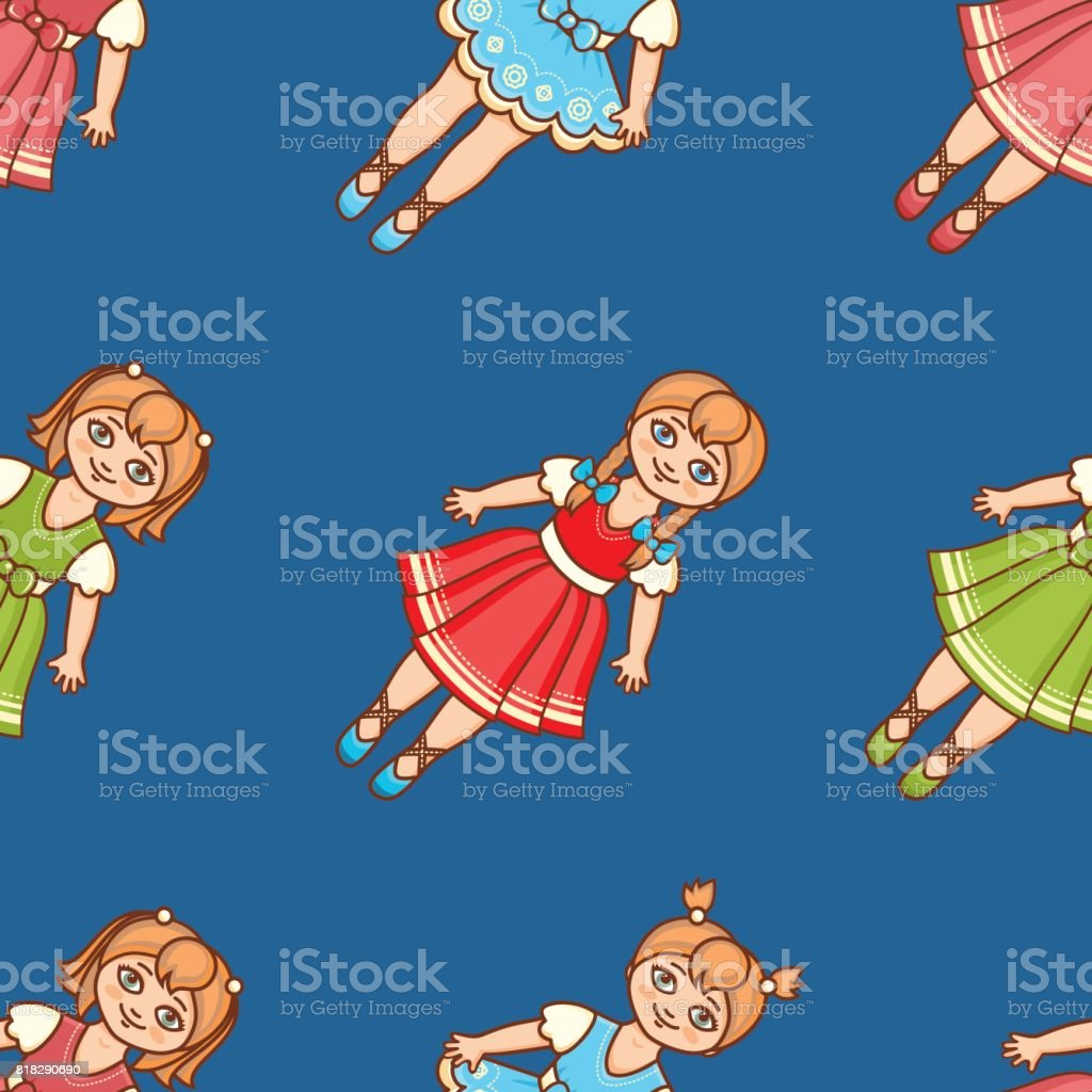 pequena bailarina estilo de desenho animado padrão sem emenda boneca