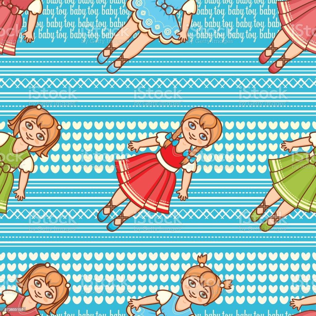 Little Ballerina. Cartoon style. Seamless pattern. Baby Doll. little ballerina cartoon style seamless pattern baby doll – cliparts vectoriels et plus d'images de bleu libre de droits