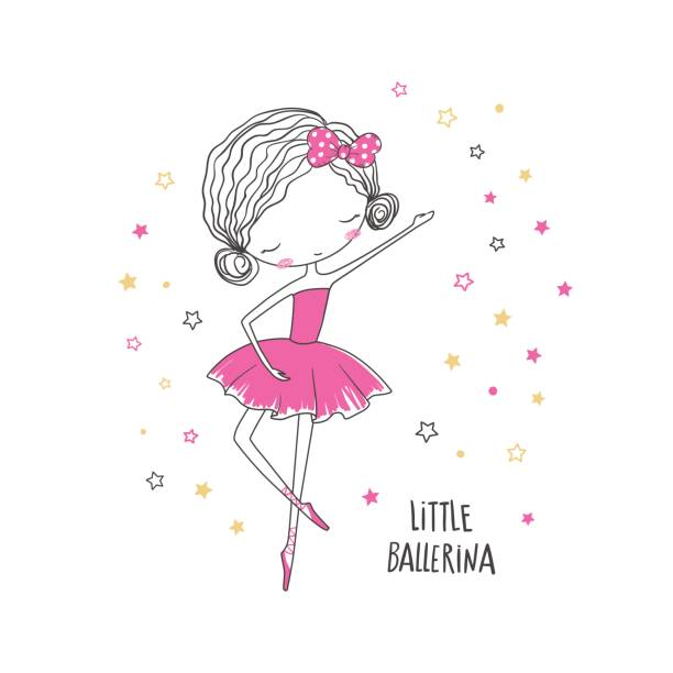 Little ballerina. Fashion illustration for clothing vector art illustration