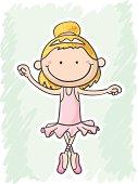 Little Ballet girl in colourful cartoon style