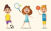 Little basketball, tennis and football players in uniform. Cute children. Cartoon vector illustration. Kid character