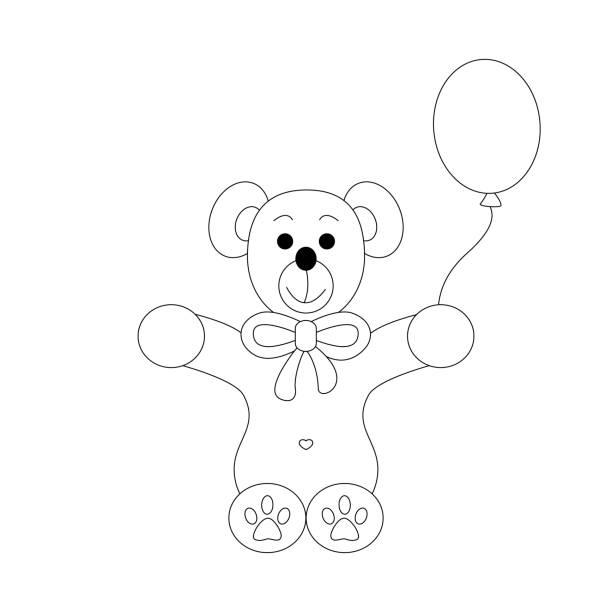Petite page de coloration d'ours. Mignon avec son ballon. - Illustration vectorielle
