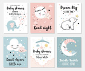 Little bear, elephant, moon and star, cute characters set, posters for baby room, greeting cards, kids and baby t-shirts and wear