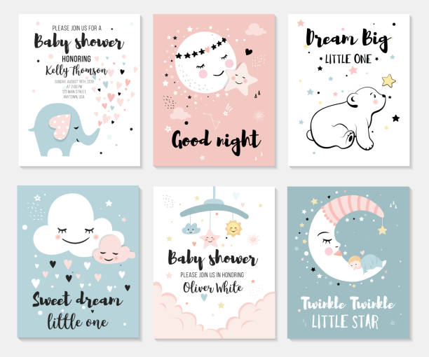 little bear, elephant, moon and star. - baby shower stock illustrations, clip art, cartoons, & icons