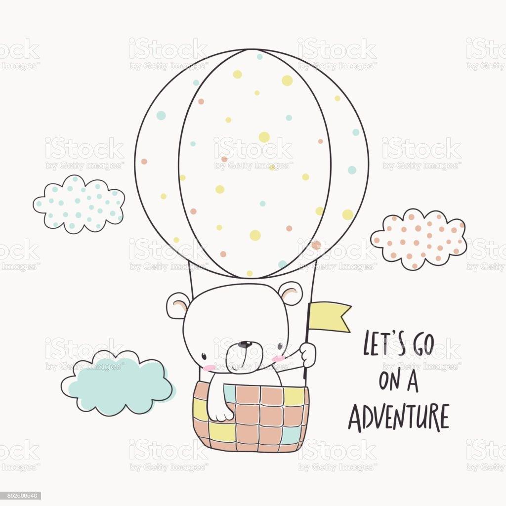 Little bear in a hot air balloon vector art illustration
