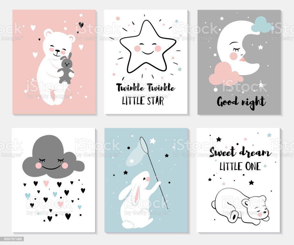 Little bear, rabbit, moon and star. - Royalty-free Animal stock vector