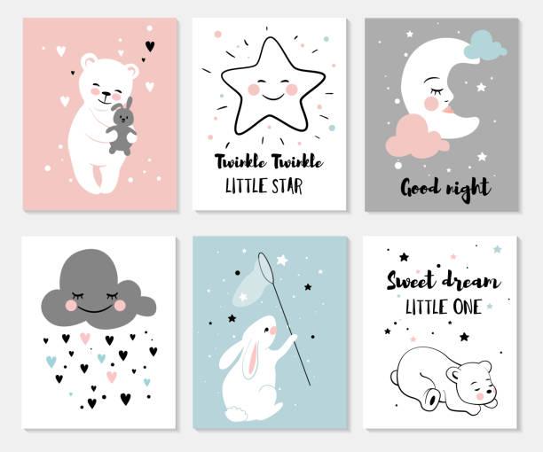 Pequeño oso, conejo, Luna y estrellas. - ilustración de arte vectorial