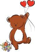 little bear with heart balloon
