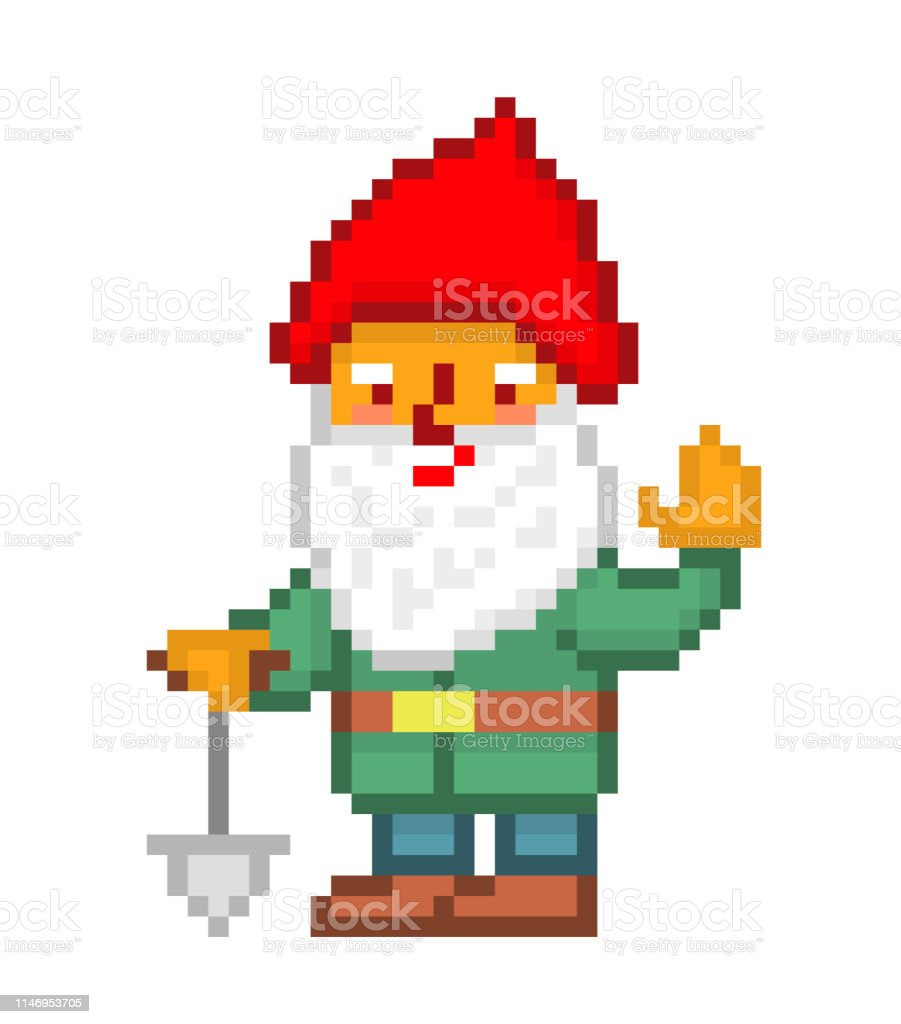 Little Bearded Gnome In A Red Pointy Hat Green Jacket And