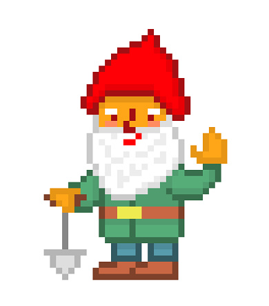 Little bearded gnome in a red pointy hat, green jacket and blue pants with a shovel waving, pixel art isolated on white. Lawn ornament. Fairy tale character. 8 bit dwarf logo. Leprechaun mascot.