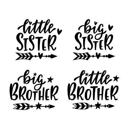 Little, big sister and brother. Hand drawn lettering with doodle boho arrows.
