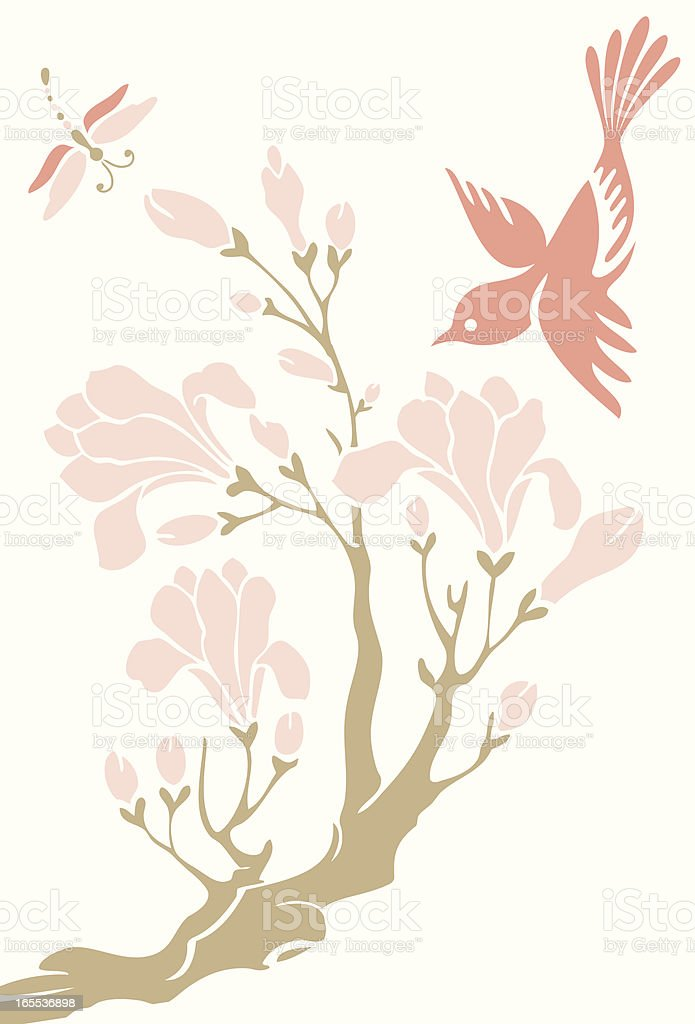 Little Bird, Magnolia & Dragonfly royalty-free stock vector art
