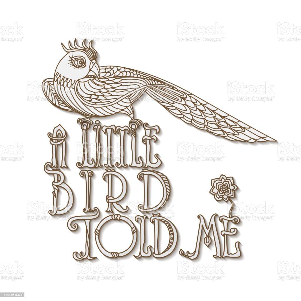 Küçük Bir Kuş Söyledi Bana Ingilizce Ifade Vektör Dekoratif çizgi