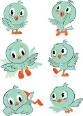 Character page with different poses of a cute little bird.