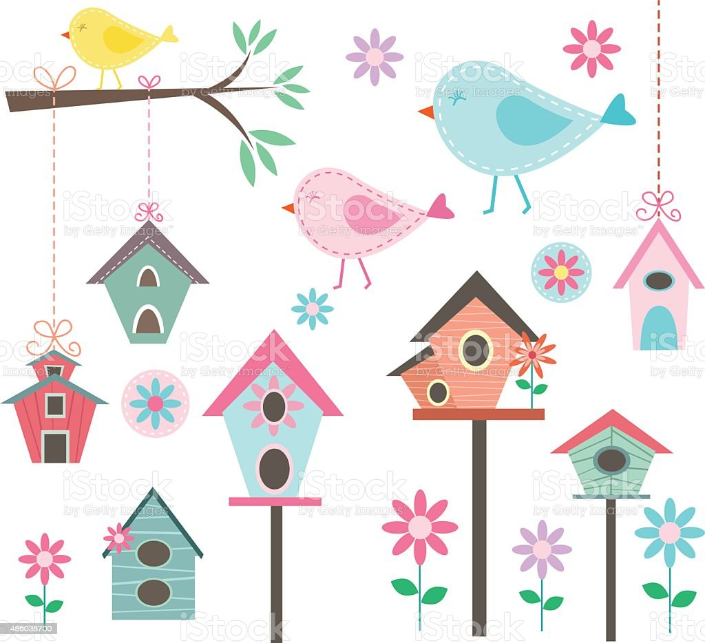 Little Bird,Bird Houses,Birds and Flowers,Branches, Collections vector art illustration