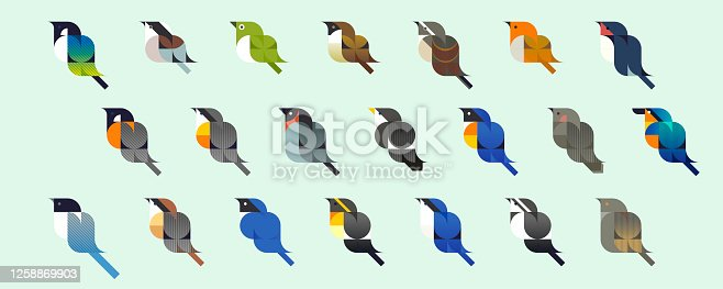Little birds in Japan, vector icons