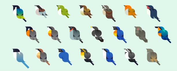 일본의 작은 새, 벡터 아이콘 - 오목눈이 stock illustrations