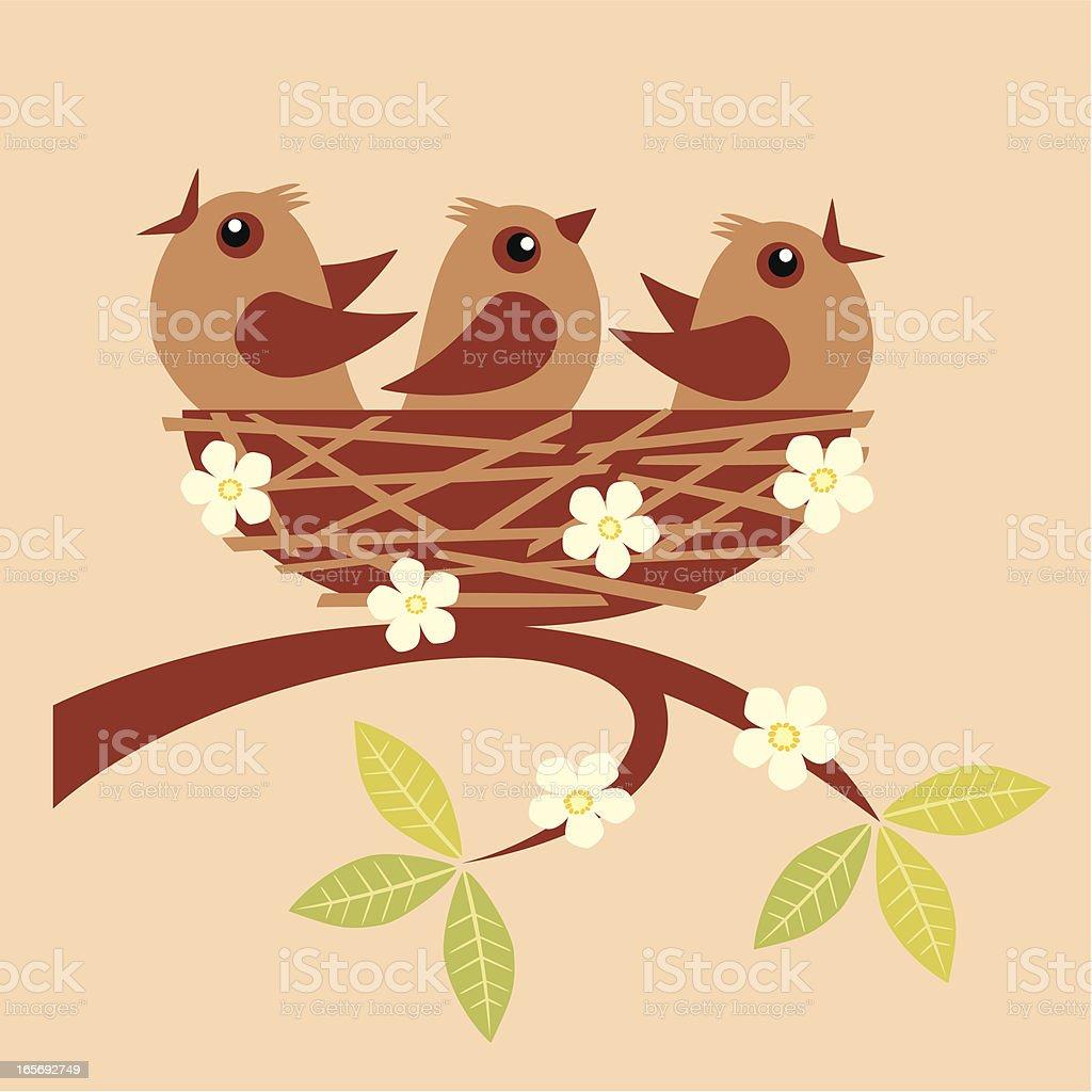 Little birds vector art illustration