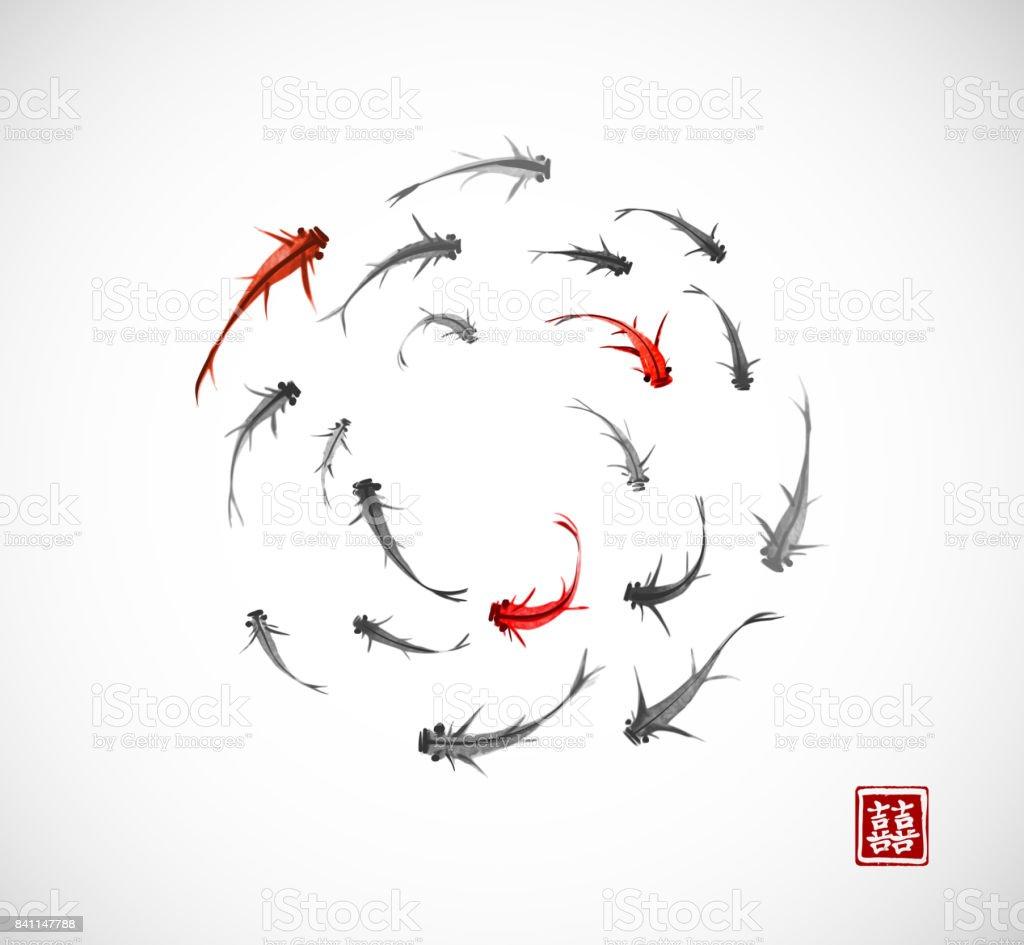 Küçük Siyah Ve Kırmızı Balıklar Beyaz Arka Plan üzerinde Bir Dairede