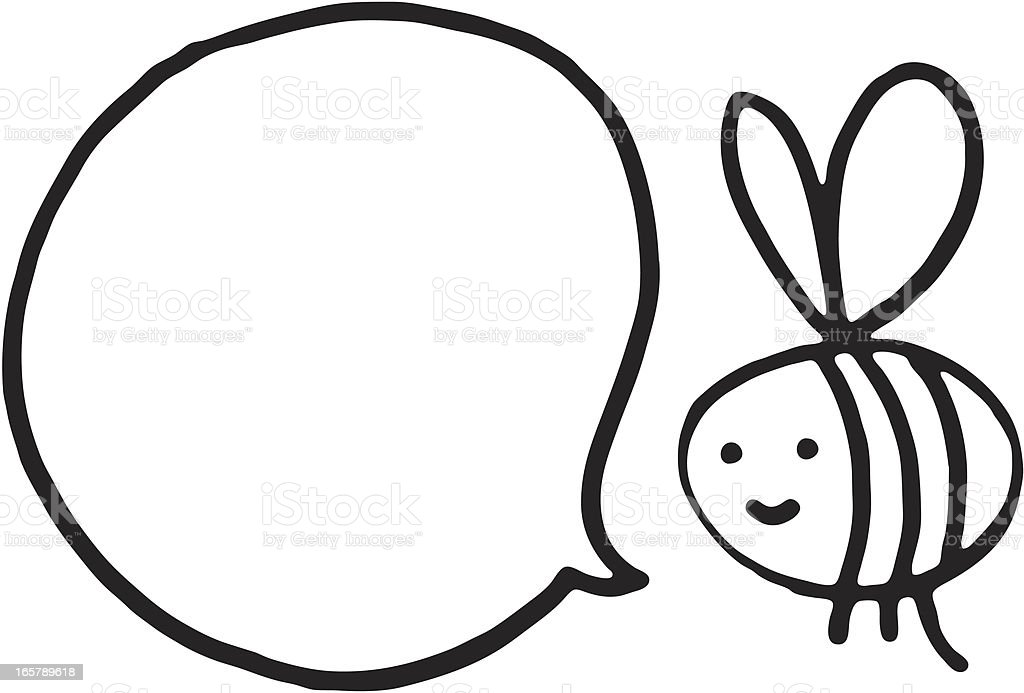 little black and white bee with speech bubble stock vector art rh istockphoto com