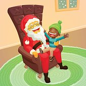 Little black boy asking Santa Claus for a big present