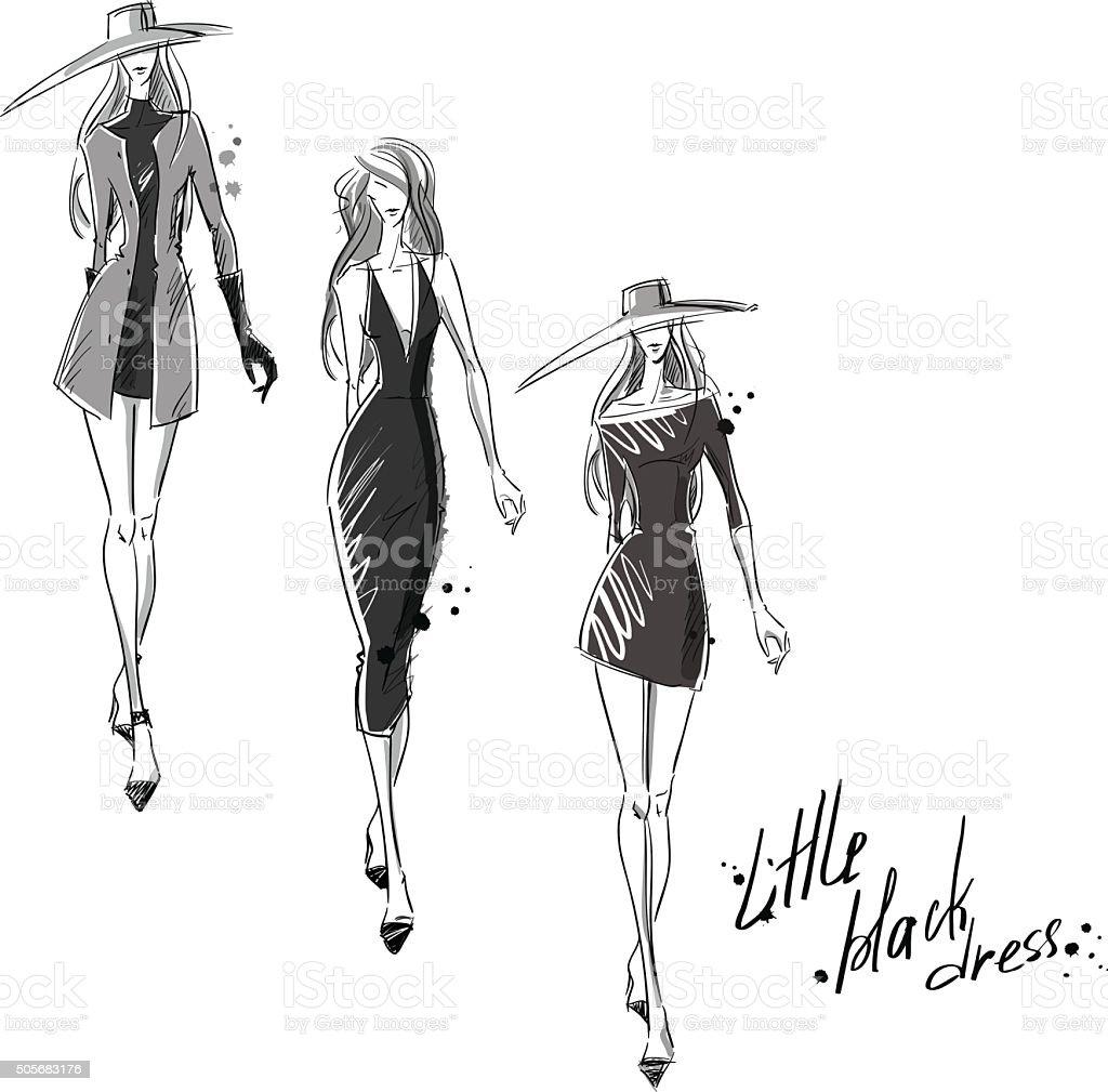 Petite robe noire. illustration de mode - Illustration vectorielle
