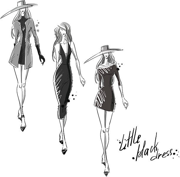 Drawing Lines In Qml : Royalty free fashion design sketches clip art vector