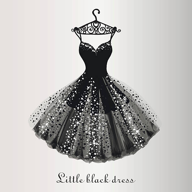 little black dress - chiffon stock-grafiken, -clipart, -cartoons und -symbole