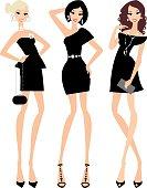 Three beauties in little black dresses.
