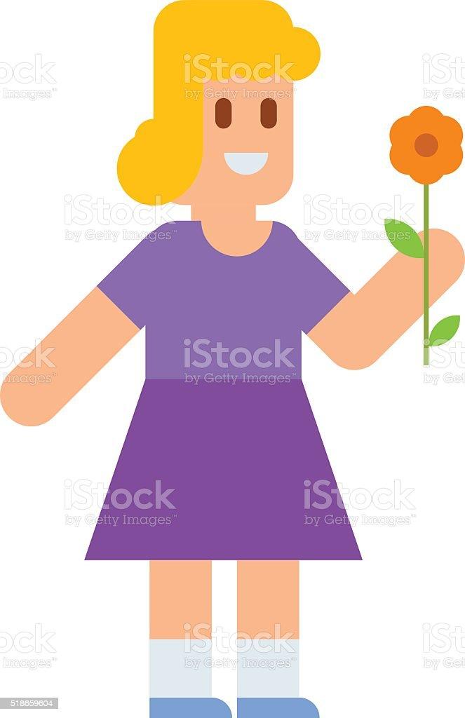 Joli Petite Fille Blonde En Robe De Fleurs Colorés Dessin