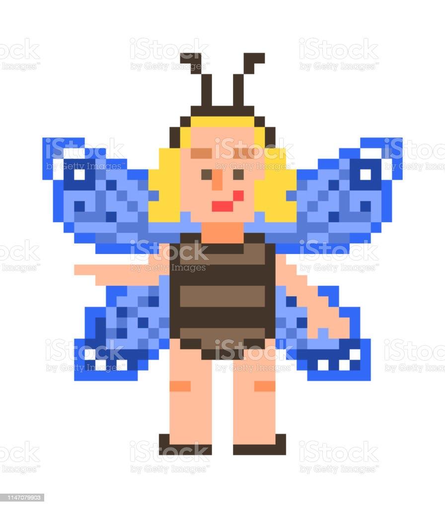 Petite Fille Blonde Dans Un Costume De Papillon Bleu
