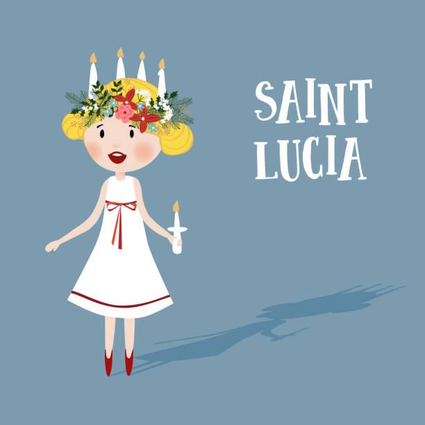 bildbanksillustrationer, clip art samt tecknat material och ikoner med liten blond flicka med blommig krans och ljus krona, saint lucia. svenska jultradition, vektor illustration bakgrund, platt design - lucia