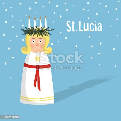 istock Little blonde girl with wreath, candle crown, Swedish Saint Lucia. 619257088