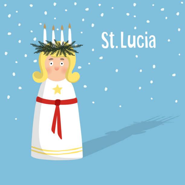 bildbanksillustrationer, clip art samt tecknat material och ikoner med little blonde girl with wreath, candle crown, swedish saint lucia. - lucia