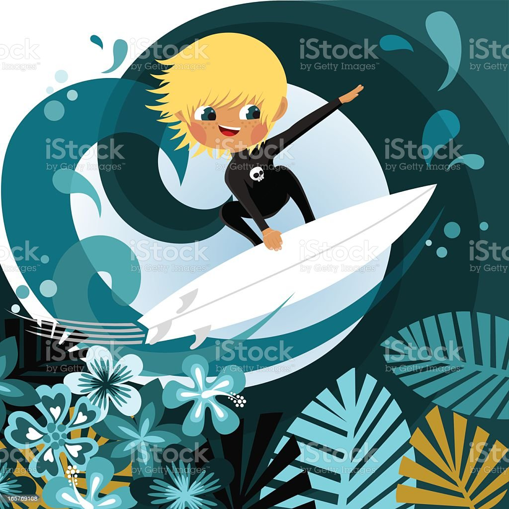 Little blonde surfer. Surfing. Beach boy royalty-free little blonde surfer surfing beach boy stock vector art & more images of activity