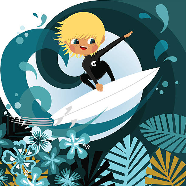 Royalty Free Kid Surfing Clip Art, Vector Images ...