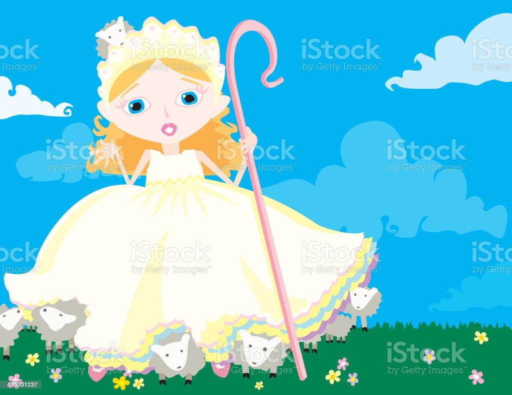 Little Bo Peep has Lost her Sheep! vector art illustration