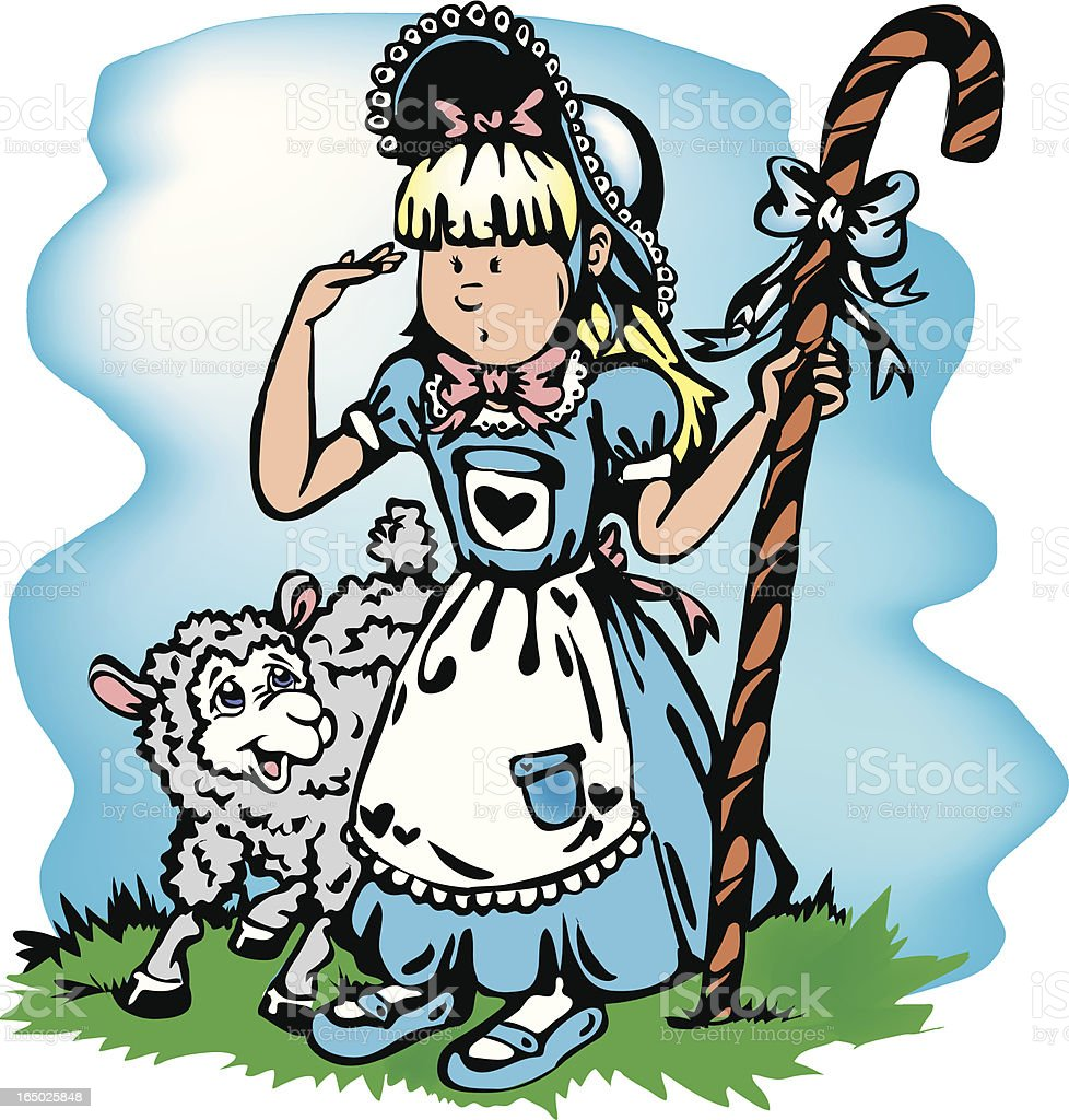 Little Bo Peep vector art illustration