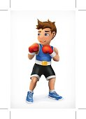Little boxer, vector icon