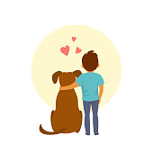 little boy and a dog hug cute vector illustration scene