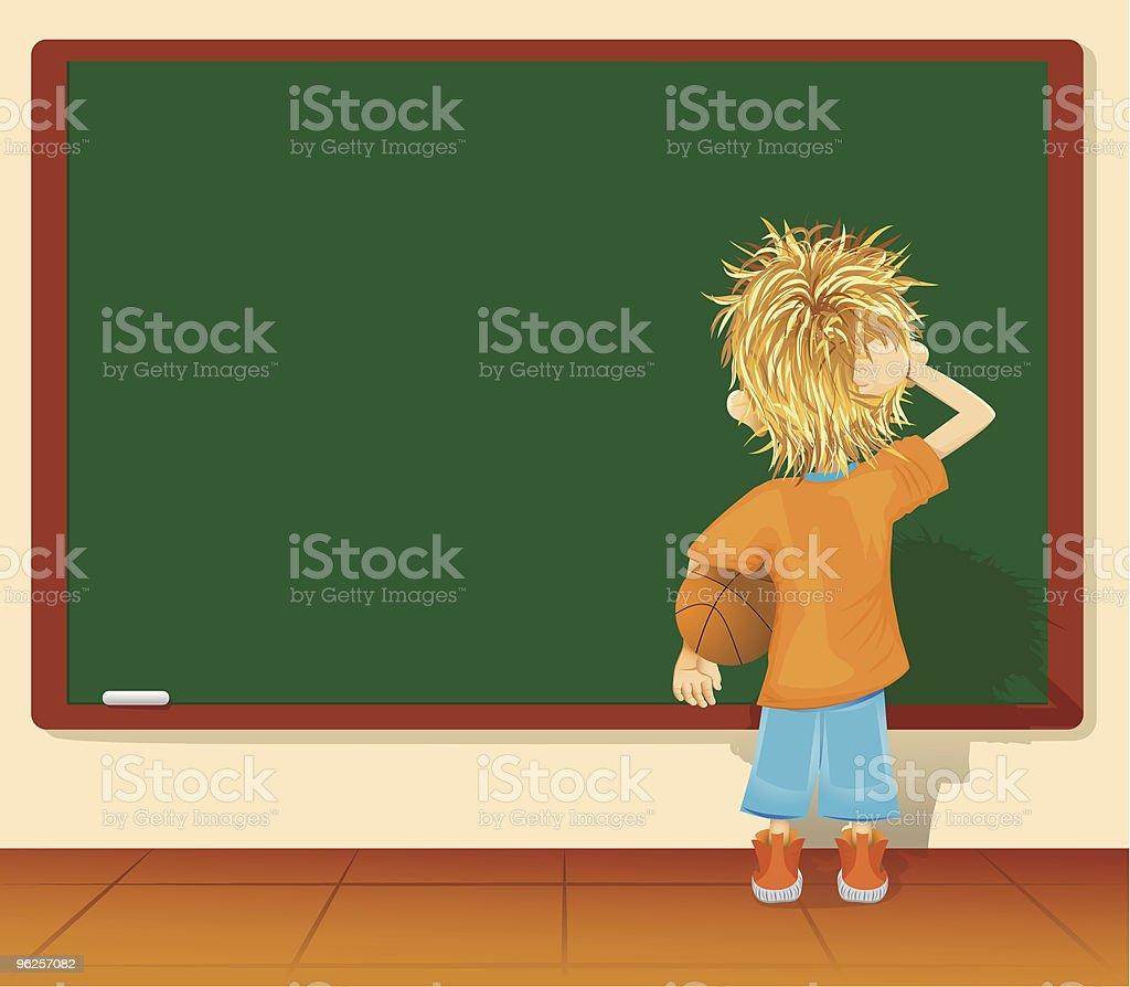 little boy and blackboard vector art illustration