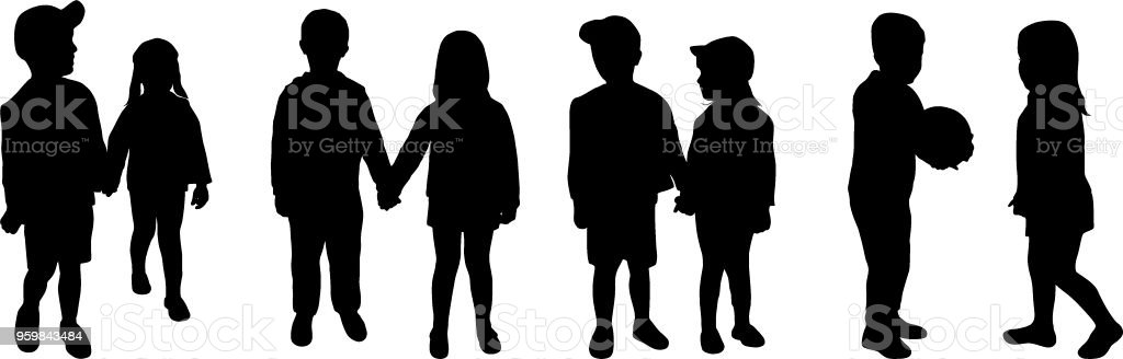 little boy and girl are walking holding hands silhouettes vector art illustration