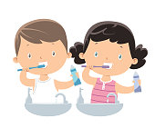 Vector little Boy and Girl Brushing Teeth