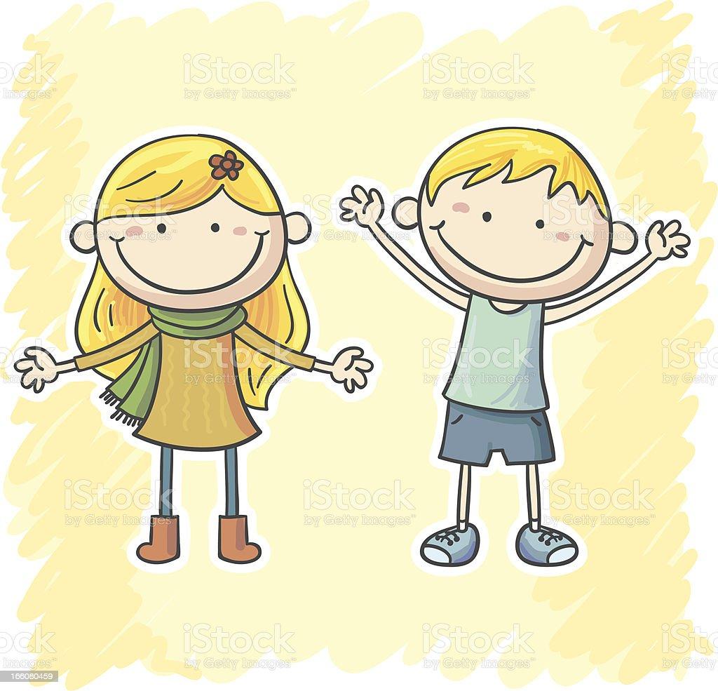 Little boy and girl cartoon illustration vector art illustration