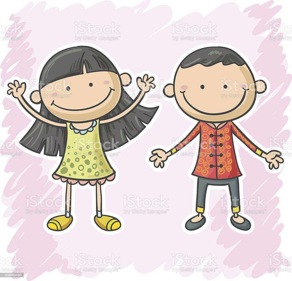 Little boy and girl cartoon illustration royalty-free stock vector art