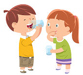 Vector Little boy and girl drinks water