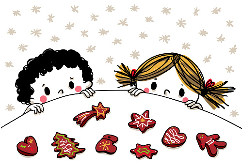 Little boy and girl glimpsing over table longing for gingerbread - decorative for horizontal banners and cards